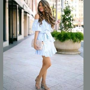 Topshop Stripe Frill Bardot Dress Off-The-Shoulder